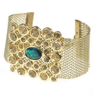 Haya Gold Wire Mesh Bracelet with Green and White Stones (India)