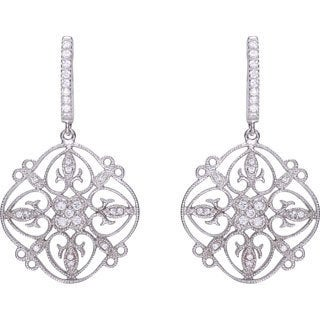 Collette Z Sterling Silver Cubic Zirconia Lace Design Dangle Earrings