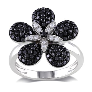 Miadora 14k Gold 4/5ct TDW Black and White Diamond Flower Ring