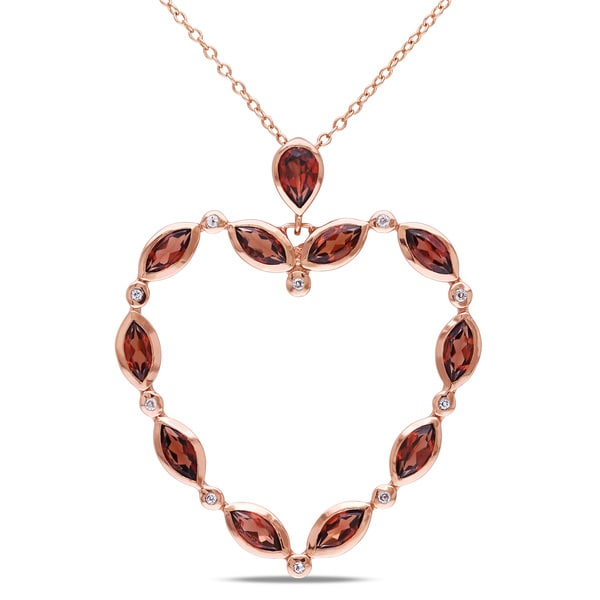 Miadora Rose Plated Silver Garnet and White Topaz Heart Necklace