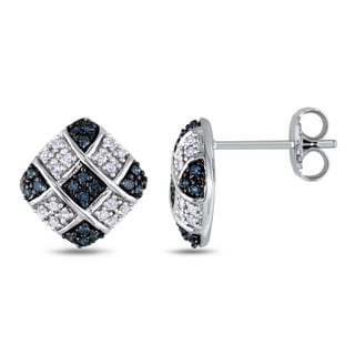 Miadora 10k White Gold 1/3ct TDW Blue and White Diamond Earrings (I2-I3)