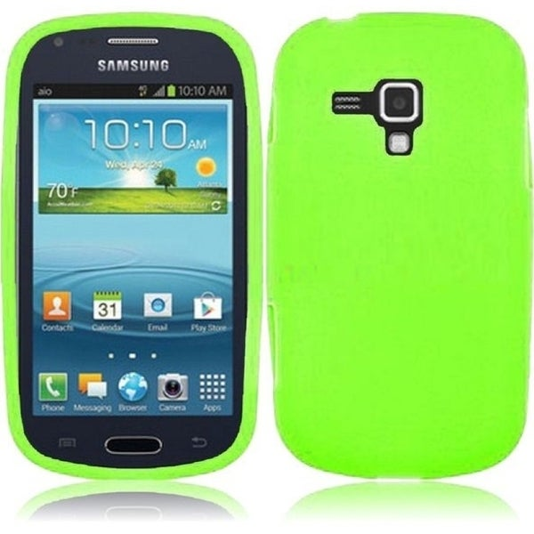 INSTEN Premium Green Rubber Soft Silicone Soft Skin Gel Phone Case Cover for Samsung Galaxy AMP