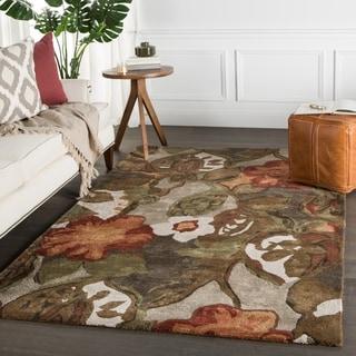 Handmade Floral Pattern Brown/ Orange Wool/ Art Silk Rug (9 x 12)