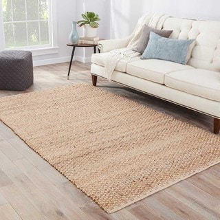 Hand-Made Solid Pattern Taupe/ Gray Jute/ Cotton Rug (9x12)