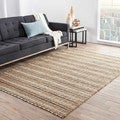 Hand-Made Taupe/ Gray Cotton/ Jute Natural Rug (8x10)