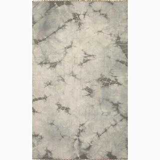 Hand-Made Gray/ Ivory Wool Reversible Rug (8x10)