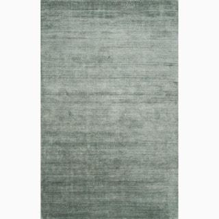 Hand-Made Solid Pattern Blue Handspun Silk Rug (8x10)