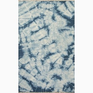Hand-Made Blue/ Ivory Wool Reversible Rug (8x10)
