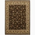 Hand-Made Oriental Pattern brown/ Tan Wool Rug (6x9)