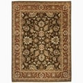 Hand-Made Oriental Pattern brown/ Red Wool Rug (10x14)