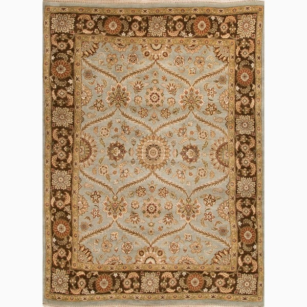 Hand-Made Oriental Pattern Blue/ brown Wool Rug (2x3)