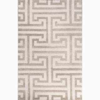 Handmade Geometric-pattern Ivory/ Gray Wool/ Art Silk Area Rug (8x11)