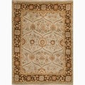 Hand-Made Oriental Pattern Blue/ brown Wool Rug (6x9)