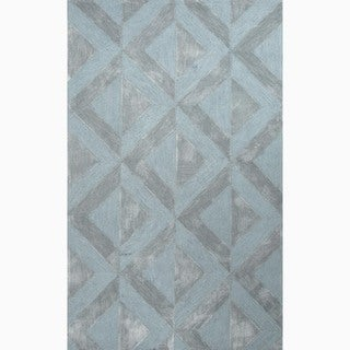 Hand-Made Blue Polyester Textured Rug (8x10)