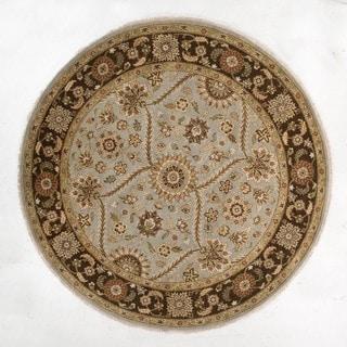 Hand-Made Oriental Pattern Blue/ brown Wool Rug (6x6)