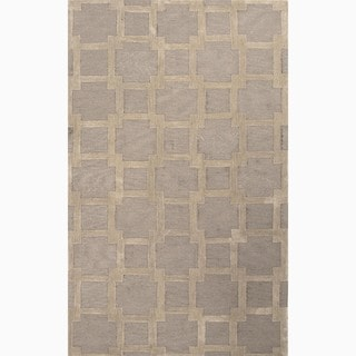Hand-Made Gray/ Tan Polyester Textured Rug (4X6)