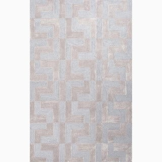 Hand-Made Blue/ Tan Polyester Textured Rug (5X8)