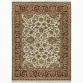 Hand-Made Oriental Pattern Ivory/ Red Wool Rug (10x14)