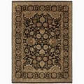 Hand-Made Oriental Pattern Black/ Tan Wool Rug (4x6)