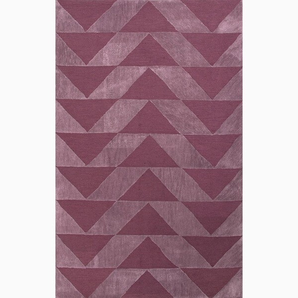 Hand-Made Purple Polyester Textured Rug (4X6)