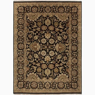 Handmade Oriental-pattern Black/ Tan Wool Area Rug (6' x 9')