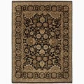 Hand-Made Oriental Pattern Black/ Tan Wool Rug (8x10)