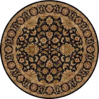Hand-Made Oriental Pattern Black/ Tan Wool Rug (6x6)