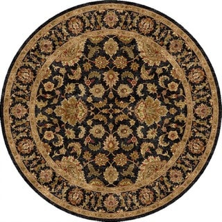 Hand-Made Oriental Pattern Black/ Tan Wool Rug (10x10)