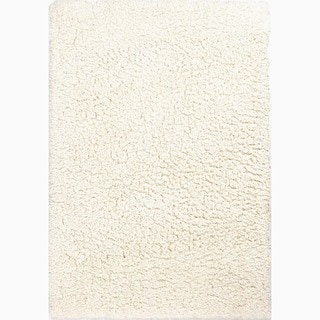 Hand-Made Ivory/ White Polyester Plush Pile Rug (8x10)