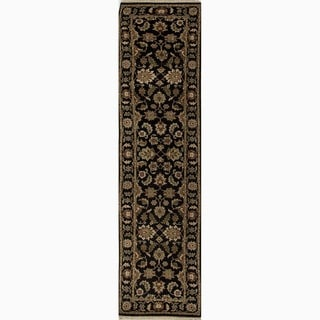 Hand-Made Oriental Pattern Black/ Tan Wool Rug (2.6x12)