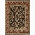 Hand-Made Oriental Pattern Black/ Red Wool Rug (2x3)