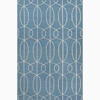 Hand-Made Geometric Pattern Blue/ Ivory Wool Rug (8x10)