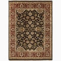 Hand-Made Oriental Pattern Black/ Red Wool Rug (6x9)