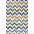 Handmade Ivory/ Blue Wool Easy Care Geometric Rug (2' x 3')
