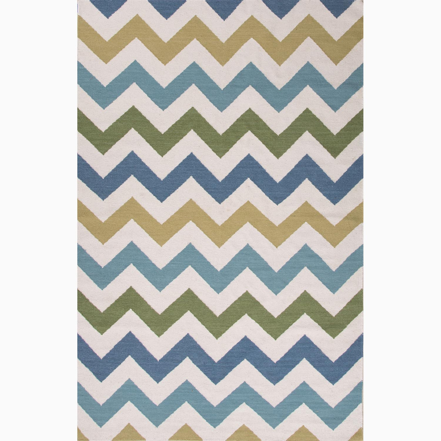Handmade Ivory/ Blue Wool Easy Care Rug (9 x 12)