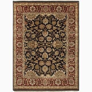 Hand-Made Oriental Pattern Black/ Red Wool Rug (9x12)