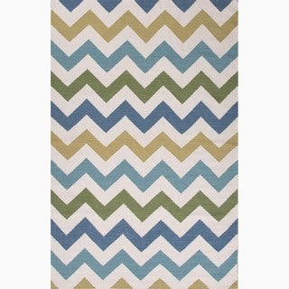 Hand-Made Ivory/ Blue Wool Easy Care Rug (8x10)