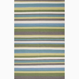 Hand-Made Green/ Blue Wool Easy Care Rug (8x10)