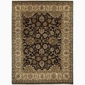 Hand-Made Oriental Pattern Black/ Tan Wool Rug (6x9)