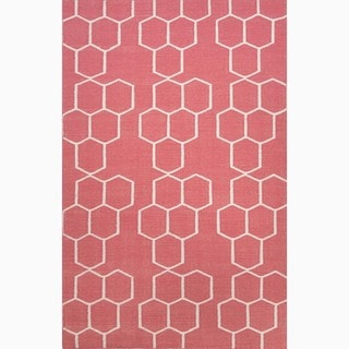 Handmade Geometric-pattern Wool Red/ Ivory Area Rug (9' x 12')
