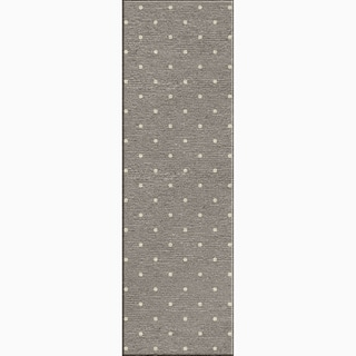 Hand-Made Geometric Pattern Gray/ Ivory Wool Rug (2.6x8)