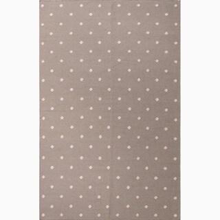 Handmade Geometric-pattern Gray/ Ivory Wool Area Rug (3.6' x 5.6')