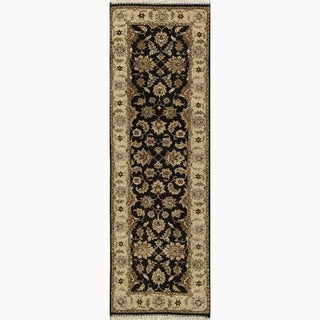 Hand-Made Oriental Pattern Black/ Tan Wool Rug (2.6x10)