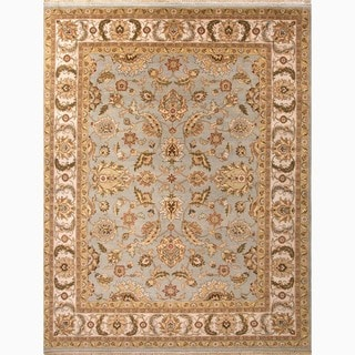 Hand-Made Oriental Pattern Blue/ Ivory Wool Rug (9x12)