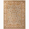 Hand-Made Oriental Pattern Blue/ Ivory Wool Rug (4X6)
