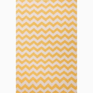 Hand-Made Yellow/ Ivory Wool Easy Care Rug (5X8)
