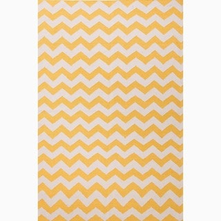 Hand-Made Yellow/ Ivory Wool Easy Care Rug (9x12)