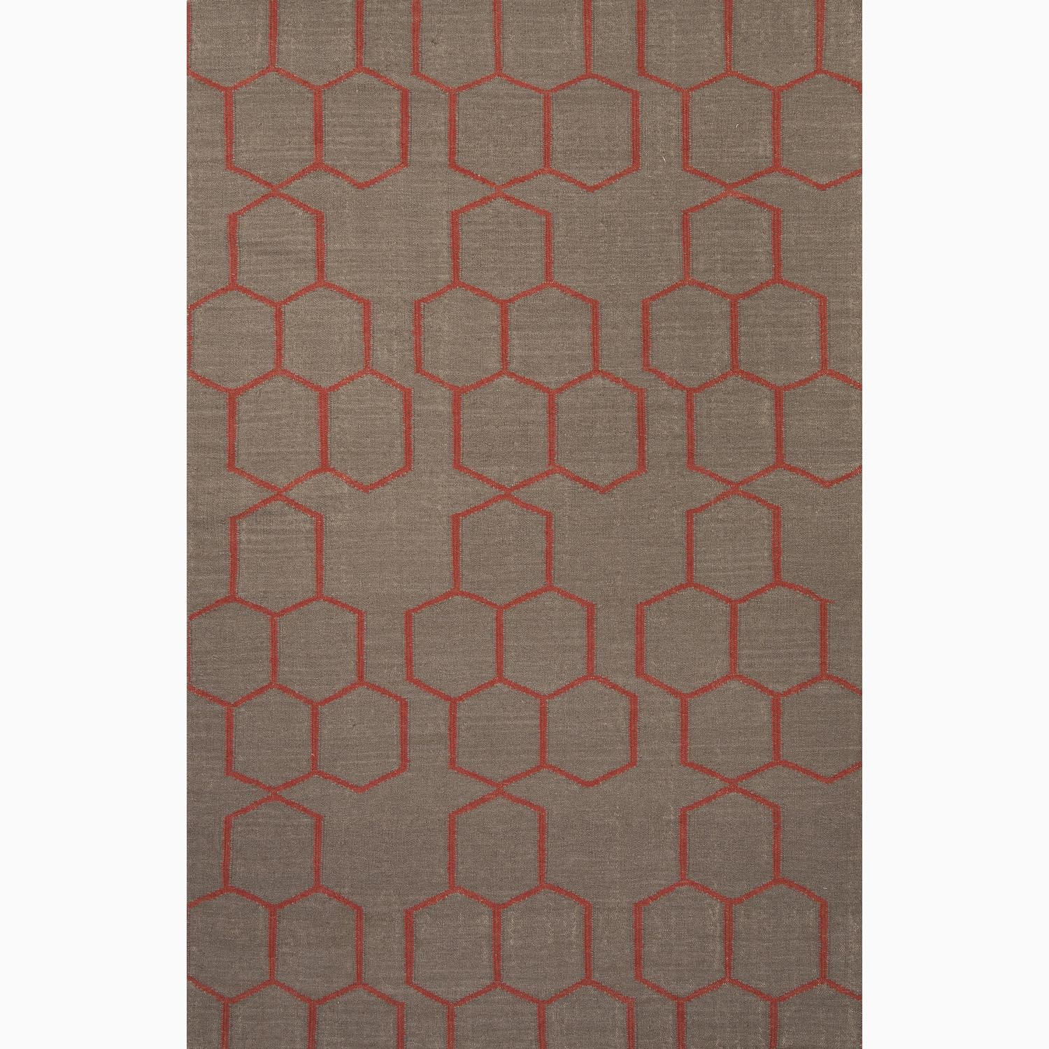 Handmade Geometric Pattern Gray/ Red Wool Rug (9 x 12)