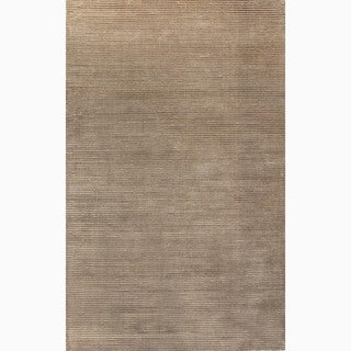 Hand-Made Solid Pattern Taupe/ Tan Wool/ Art Silk Rug (8x10)