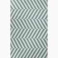 Hand-Made Stripe Pattern Blue/ Ivory Wool Rug (8x10)